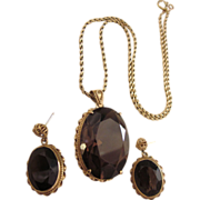 SALE Spectacular Vintage 14K Gold and 60 CTW Brown Smoky Quartz Pendant Necklace and Pierced .