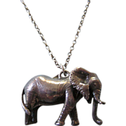 """Vintage Sterling Large Dimensional Elephant Pendant Necklace With 26"""" Sterling Rolo Chain"""