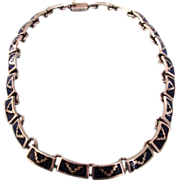 "Stunning Vintage Taxco Sterling Silver and Inlaid 16"" Choker Necklace, 68.8 Grams!"