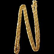 "SALE Estate 585 14K Gold Italian 15-3/4"" Figaro Fine Gauge Link Chain Necklace"