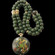 "SALE Vintage Jade and Cloisonne 28"" Necklace, Sterling Clasp"