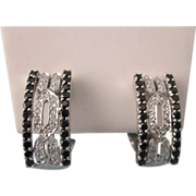 SALE Estate 585 14K White Gold Diamond Pave and Black Spinel Omega Back Pierced Earrings