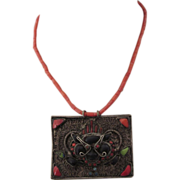 Vintage Ethnic Tribal Dragon Pendant With Coral Chain Necklace