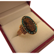 SALE Victorian 10K Rose Gold Carved Tiger's Eye Cameo Ring With Turquoise and Seed ...