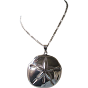 """SALE Huge Sterling Sea Biscuit Pendant With Italian Sterling Figuro 20"""" Chain Necklace"""