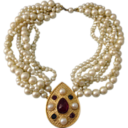 SALE Vintage Signed Richelieu Faux Pearl Necklace With Ornate Studded Center