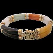 Vintage Jade 14K Gold Double Segment Link Multicolor Bracelet