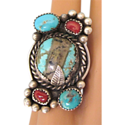 SALE Spectacular Vintage Sterling, Boulder or Ribbon Turquoise and Coral Ring, Size 5-1/2