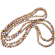 """SALE Vintage 64"""" Freshwater Cultured Pearl Rope Necklace in Rich Pastel Shades"""