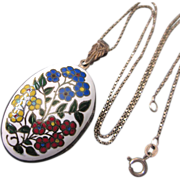 """SALE Vintage Sterling and Floral Enamel Reversible Locket With Complementary 18"""" Sterling"""