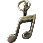 Vintage Matte Sterling Silver Musical Note Charm