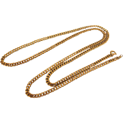 """SALE Vintage Curb Link 24"""" Yellow Gold Filled Chain Necklace"""