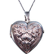 "SALE Vintage Sterling Repousse Puffy Heart Locket Pendant With Sterling 20"" Chain"
