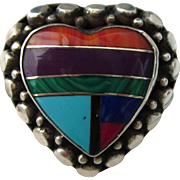 SALE Vintage Chunky Sterling Southwestern Inlaid Multi Gemstone Heart Ring, Size 6-1/2