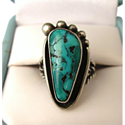 SALE Signed Vintage Sterling and Turquoise Navajo Foot Ring, Size 4-3/4