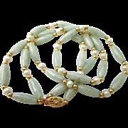 "SALE Estate 14K Jade Jadeite and Cultured Pearl Gold 26"" Necklace"