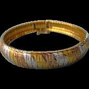 """SALE Vintage Italian Signed Milor Sterling Tri-Color Vermeil 8"""" Bracelet, 23 Grams, Large"""
