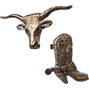 SALE Pair of Sterling Square Dance Texas Theme Scarf Rings