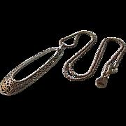 "SALE Elegant Sterling Silver Open Work Pendant 18"" Necklace"