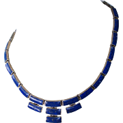 "SALE Vintage 970 Sterling and Lapis Lazuli Bezel Panel Link Segment Bib 17"" Necklace"