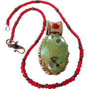 SALE Vintage Huge Sterling, Turquoise and Coral Pendant on Red Bead, Sterling and Garnet Chain