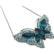 """SALE Dazzling Sterling and Blue Crystal Rhinestone Butterfly Pendant Necklace, 19"""" Sterli"""