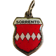 SALE Vintage 800 Silver Enamel Sorrento Shield Travel Charm Pendant