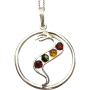 SALE Sterling and Amber Dragon Open Work Pendant