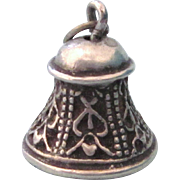 SALE Vintage Sterling Silver Ornate Bell Charm With Clapper, 3-D