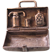SALE Scarce Vintage Sterling Silver Mechanical OH-BOY Travelling Liquor Case 3-D Charm