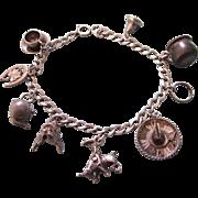 SALE Vintage Sterling Silver Western Theme Charm Bracelet