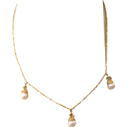 """SALE Lovely Vintage 585 14K Yellow Gold 17"""" Necklace With Cultured Pearl Drops, 7.3 ..."""