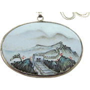 SALE Vintage Sterling and Hand Painted Tile, Great Wall of China, Pendant Necklace