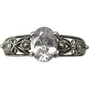 SALE Vintage Sterling Silver Filigree Simulated Diamond Size 9 Ring