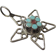SALE Vintage Sterling Star Pendant Charm With Inlaid Turquoise and Coral Flower