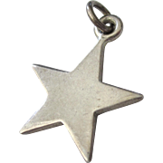 SALE Vintage Chunky Sterling Silver Star Unisex Pendant or Large Charm