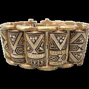 SALE Vintage Wide Damascene Bracelet, Curved Ornate Bars