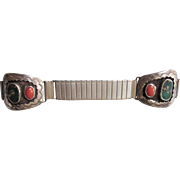 SALE Vintage Southwestern Sterling, Turquoise and Coral Watch Band