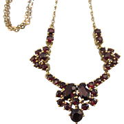 "SALE Romantic Bohemian Cut Garnet Gold Filled 16"" Vintage Necklace"