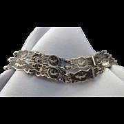 SALE Vintage Pair of Sterling Black Enamel Niello Siam Dancing Girl Bracelets