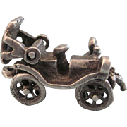 SALE Vintage Sterling Mechanical 3-D Antique Crank Car Charm, Moveable Roof, Crank, Wheels