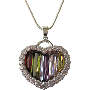 SALE Dazzling Swarovski Crystal Rainbow of Colors Heart Pendant Necklace
