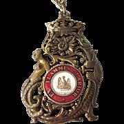 SALE Fabulous Vintage Mermaid Order of the Phoenix Ex Flammis Clarior Bronzetone and Enamel ..