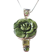 """SALE Beautiful Sterling Silver and Gemstone Carved Rose Bold Pendant With Sterling 20"""" Ch"""