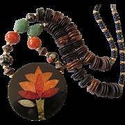 Vintage Laminate, Gemstone and Wood Bead Pendant Necklace, Tree Design