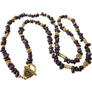 "Vintage Garnet Gemstone and Fancy Gold Plated Bead 27"" Necklace"