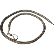 "Chunky Woven Wheat Sterling Silver 16"" Chain Necklace"