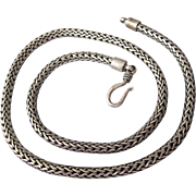 "Elegant Sterling Silver 16-5/8"" Woven Wheat Link Chain Necklace"
