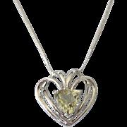 "Sterling Silver and Lemon Quartz Open Work Heart Pendant Necklace, 18"" Chain"