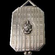 Vintage Unusual Large Silver Locket With Owl Fraternal Symbol